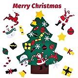 ROOYA BABY Árbol de Navidad de Fieltro para Niños DIY Árbol de Navidad con 24Pcs Ornamentos Desmontables para Decorar la Pared y la Puerta Decoración Bricolaje Colgantes de Adornos Navideños Niños