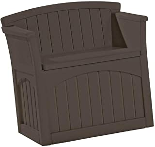 Suncast 31 Gallon Water Resistant Patio Seat with Storage - Decorative Resin Outdoor Patio Seat for Deck, Patio, Garden, Backyard - Store Toys, Cushions, Tools - Java