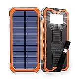 Friengood Chargeur solaire portable 15 000 mAh avec deux ports USB, chargeur de batterie externe solaire avec 6 lampes de poche LED pour iPhone, iPad, Samsung et plus (Orange)