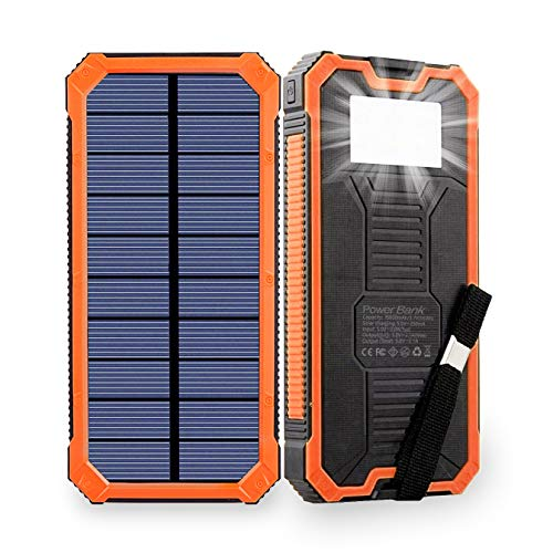 Solar Power Bank, 15000mAh Solar Charger, 2.1A Input and Output Solar Phone Charger,Phone External Battery Charger with Dual USB Ports and 6 LED Glare Flashlights for All Phone,Tablet,Camera and More.