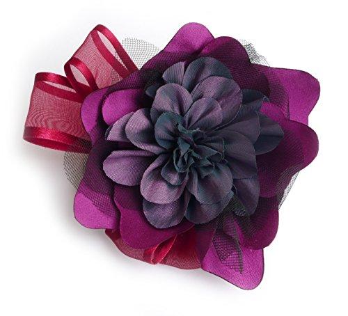 Blumen-Brosche: Satin, TAFT, Tüll. Lila, Bordeaux und schwarz.