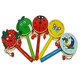 Yihaifu Baby schütteln Rattle Karikatur-hölzerne Handglocke Drum Kids Musikinstrument-Spielzeug
