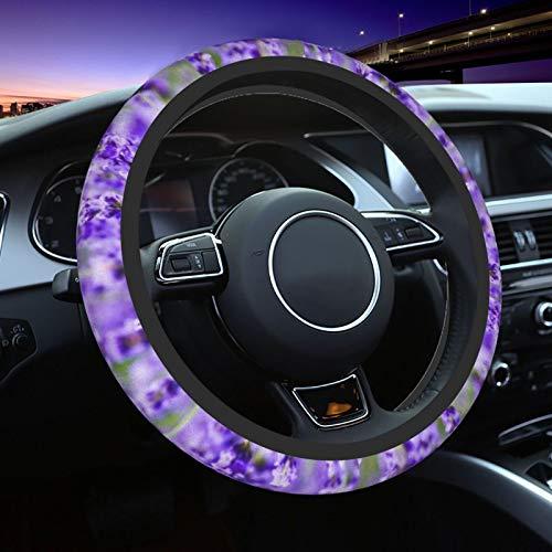 Purple Lavender Steering Wheel Cover for Women Men, Universal 15 Inch Anti Slip and Sweat Absorption Auto Car Wrap Cover, Fit Suvs, Vans, Sedans, Cars, Trucks