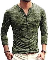 KUYIGO Mens Casual Slim Fit Basic Henley Long Sleeve T-Shirt Army Green Medium