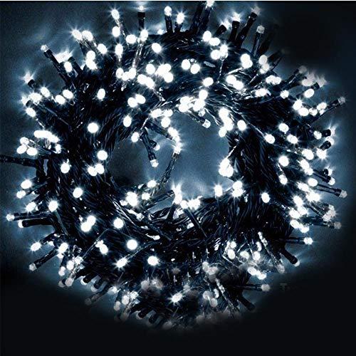 Bakaji Catena Luminosa 1000 Luci LED 55 Metri con Controller 8 Funzioni Impermeabile IP44 per uso Interno ed Esterno, Luci di Natale Cavo Verde Decorazioni per Albero di Natale Bianco Freddo