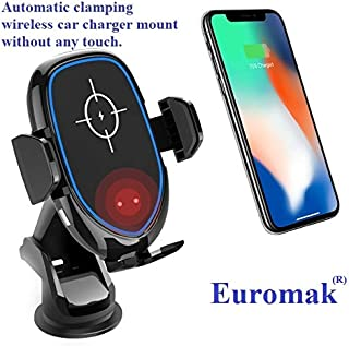 Wireless car Charger Mount for iPhone X/XS MAX/XR/XS/8/8 Plus Samsung Galaxy S9/S9+/S8/S8+/S7/S6 Edge Plus Note 9/8/7/6 Automatic Clamping Luxury Fast Wireless Charger 10W 7,5W 5W+Qi Enabled Phone
