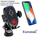 Automatic Clamping Wireless car Charger Mount Without Any Touch for iPhone X/XS MAX/XR/XS/8/8 Plus Samsung Galaxy S9/S9+/S8/S8+/S7/S6 Edge Plus Note 9/8/7/6 Luxury Wireless Charger 10W 7,5W 5W