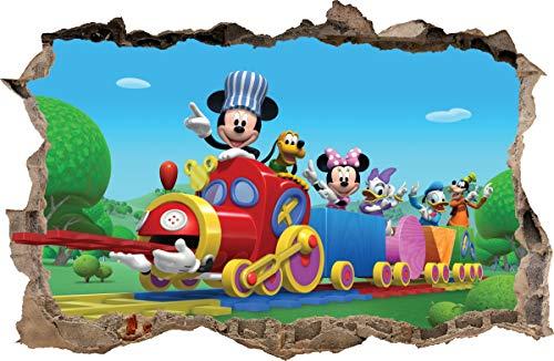 Wall Graphics Pegatinas de Pared Agujero en la Pared Mickey Donald el Tren Adhesivo Decorativo de Pared 56 (XL - 100 x 65 cm)