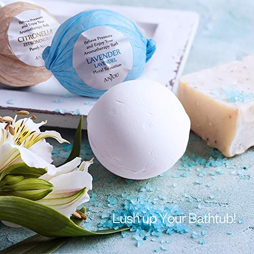 Bath Bombs Gift Set Anjou Colorless 6 x 3.5 oz Fizzies Spa Kit, Idea for Bubble Bath, Moisturizing with Organic Natural Essential Oils, Jojoba Oil, Shea Butter, for Christmas, Women, Kids, Moms