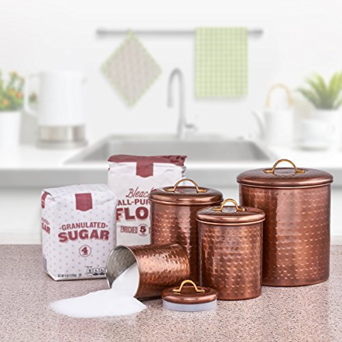Set of 4 Old Dutch Canisters in Antique Copper