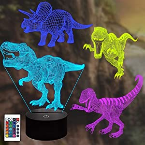 Lampeez Dinosaur Lamp Kits, 3D Night Light Illusion Lamp 4 Patterns with Remote 16 Color Change Decor Lamp, Dinosaur Gifts for Children