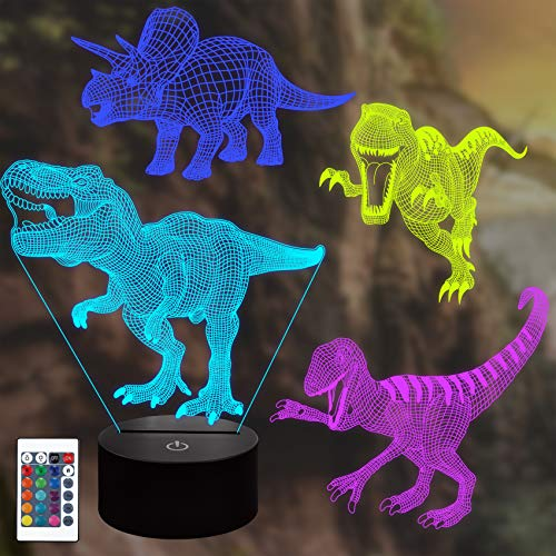 CooPark 3D LED Dinosaur Night Light 4 estilo de dinosaurio y 16 colores que cambian la lámpara de decoración con control remoto para niños niñas niños bebé decoración del hogar regalo