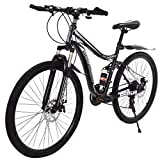 HUAXU 26 Inch High-Carbon Steel Hardtail Mountain Bike,【U.S. Shipping】 for Men or Women Full Suspension Road Bike 21 Speed Disc Brakes, 700c Mountain Bikes