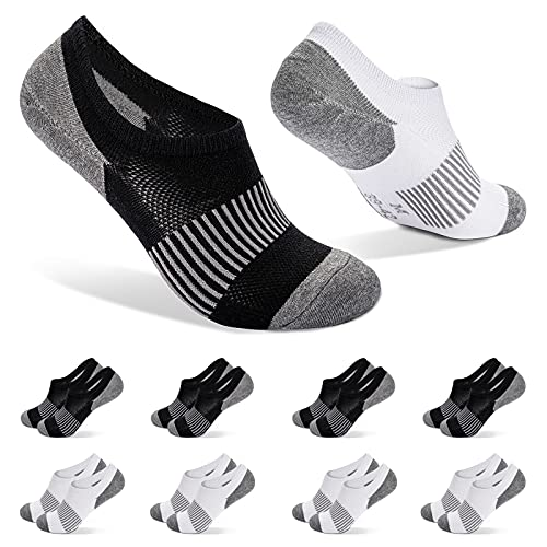 FALARY Calcetines Invisibles Hombre 8 Pares 39-42 Negro Blanco calcetines invisibles hombre Calcetines Tobilleros Mujer Pinkies Algodon