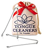 Tongue Scraper Cleaner (2 Pack) Medical Surgical Grade Stainless Steel Metal Tongue Brush Dental Kit Eliminate Bad Breath with Tongue Sweeper Ayurvedic for Daily Oral Dental Hygiene Fresh Breath