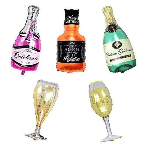 ED-Lumos Globos de Helio Decoración para Fiesta Modelo Vino Vodka Champán Copas 5 Piezas