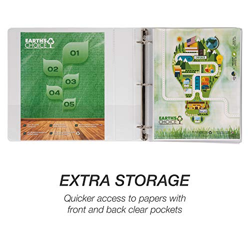 Samsill Earth's Choice Biobased Durable 3 Ring View Binder, 1.5 Inch Round Ring, Up to 25% Plant Based Plastic, USDA Certified Biobased, Eco-Friendly, Customizable Cover, White, 4 Pack (I08957) Photo #7