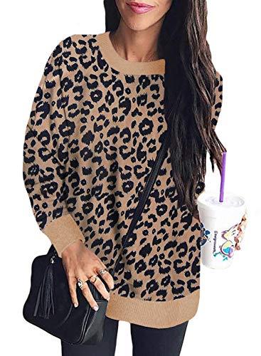 Sudadera de manga larga con cuello redondo, estampado de leopardo, para mujer, de moda, informal, para mujer