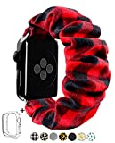 Scrunchie Elastic Watch Band for Apple Watch 38mm/40mm 42mm/44mm,Innovative Elastic Faux Suede Replacement Wristband for iWatch Series 4 3 2 1 MONOBLANKS (Red Buffalo Plaid, 38MM/40MM)