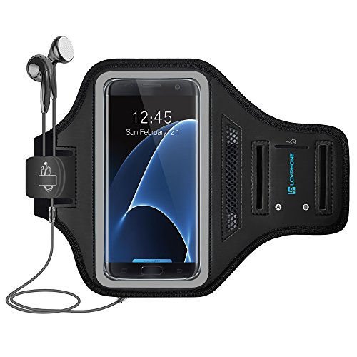 Galaxy S7 Edge/ S10 Armband - LOVPHONE Easy Fitting Sport Running Exercise Gym Sportband with Key Holder & Card Slot,Water Resistant and Sweat-Proof for Samsung Galaxy S10/S7 Edge-Gray