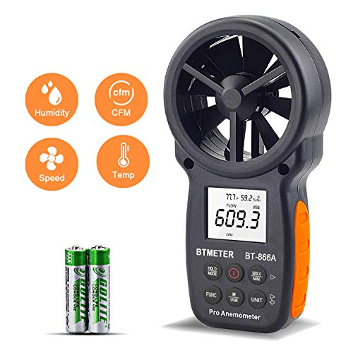 BTMETER HVAC Anemometer CFM Meter BT-866A Handheld Digital Wind Speed...