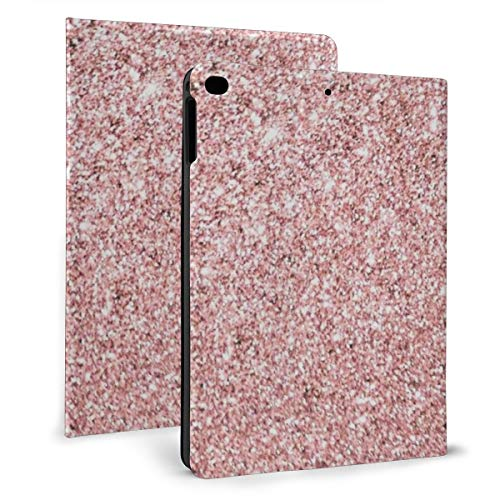 Case Ipad 9.7 Inch 2017/2018 (Mini4/5) - Soft Leather Stand Folio Case Cover For Ipad 7.9 Inch, With Multiple Viewing Angles, Auto Sleep/Wake, Blush Pink Rose Gold Bronze Cascading Glitter