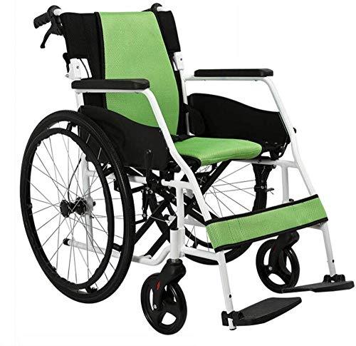 Aluminiumlegierungs-Sport-und Freizeit-Rollstühle Rollstuhl-faltender Alter Mann-Licht Und Aufblasbarer Freier Von Hand Eindrückbarer Tragbarer Untauglicher Roller,B