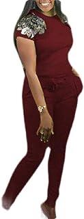 Women 2 Piece Outfit Sequin Patchwork T Shirt Slim Pants Sportswear Set