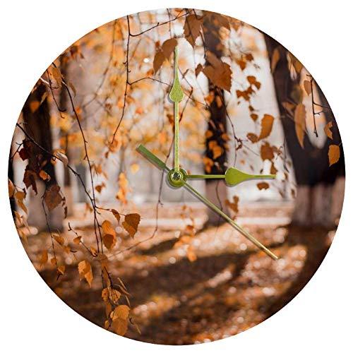 EZIOLY Acryl-Wanduhr, braune Blätter, Bäume, 25,4 cm, leise, nicht tickende Quarz-Wanduhr, batteriebetrieben, ungeschaltet, runde Wanduhren, dekorativ für Zuhause, Büro, Schule