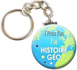 Porte Clés Chaînette 3,8 centimètre J'peux pas J'ai Histoire Géo Idée Cadeau Accessoire École Collège Lycée Enfant Élève P...