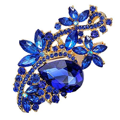 dragonaur-home decor Broche de cristal con forma de gota de agua y flor, broche para ramo de boda, joyería chal, bufandas, broche floral, dorado + azul zafiro