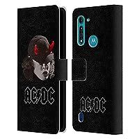 Head Case Designs オフィシャル ライセンス商品 AC/DC ACDC アンガス・ヤング ホワイト ソロ Motorola Moto G8 Power Lite 専用レザーブックウォレット カバーケース