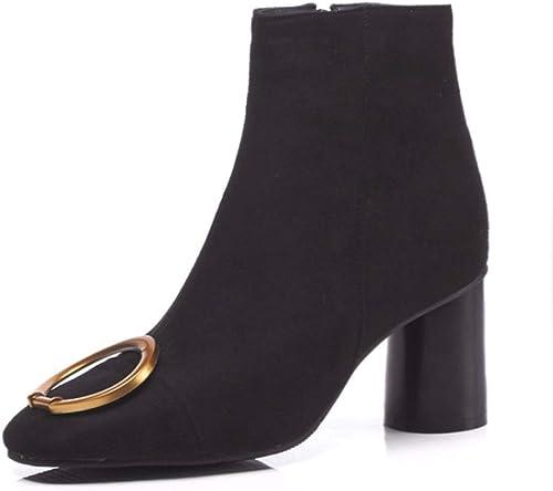 HBDLH zapatos de mujer Gamuza botas Altura del Tacón 7 Cm Tacon Grueso Medio Tacón Cabeza rojoonda Molienda Hebilla De Metal Terciopelo 100 Juegos Chelsea botas