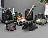 WOMGF 6 PCS Rangement Bureau Organisateur Multifonctionnel Métal Grillagé Organiseur de Bureau Pot à crayons Porte-stylo Rond en métal Papeterie Organizer pour Bureau, école et Maison (Noir)