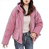 CLOOM Chaqueta de Algodón para Mujer Chica,Cálido y Confortable Engrosamiento Gruesa Abrigo Corto Jacket Coat con Capucha para Invierno Vacaciones/Trabajo/Negocios