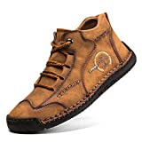 gracosy Mens Ankle Boots Casual Loafers Shoes Vintage Hand Stitching Comfort Soft Leather Boots Winter Breathable Lace-up Driving Shoes Non-Slip Flats Oxford Shoes High-top 2019 Brown 11 UK