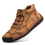 gracosy Zapatos de Cuero para Hombre Primavera High Top Casual Sneaker Mocasines Mano Costuras Botines Planos Transpirable Oxford Vestido Conducción