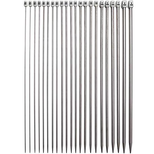 Set di ferri da maglia a punta singola Set di aghi dritti per maglione in acciaio inossidabile per principianti , 22PCS (11 paia itting Ferri da maglia 2mm (B) -8mm (L) 35cm Long