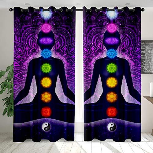 Cortinas Opacas Modernas, Sencillas Y Elegantes con Aislantes Térmicas Yoga Yin Yang para Niños Y Ventanas De Salón Dormitorio Decoración 90 cm x 214 cm x 2