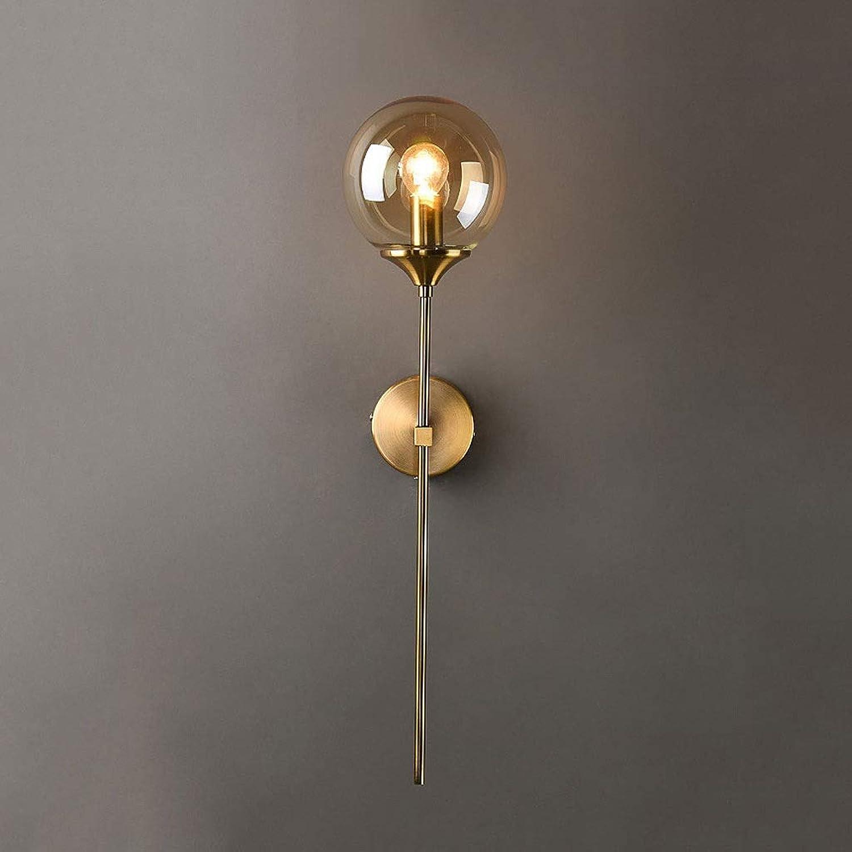 Wandlampe JIAQI Retro Schmiedeeisen Glaskugel Wandleuchte modernen minimalistischen Wohnzimmer Schlafzimmer Nacht Ganglichter Einstellbare Wandleuchte (Farbe   B)