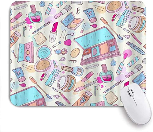 Mauspad cartoon lady kosmetik muster lippenstift lidschatten customized art mousepad rutschfeste...