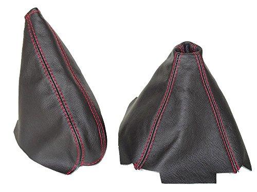 Für Honda CRX del Sol 1992–1997Gear & Handbremsmanschette Leder schwarz Naht rot