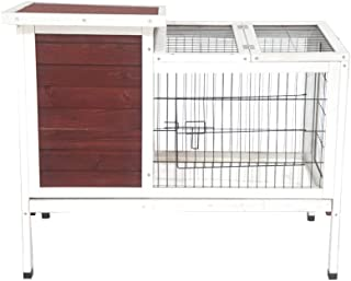 ALEKO DXR066 Fir Wood Chicken Coop Rabbit Hutch with Nesting Box and Small Chicken Run Backyard Poultry Cage 36 x 22 x 30 Inches Red and White
