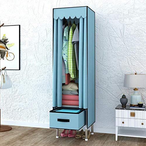 JLKDF Single Canvas Kleiderschrank mit Schubladen Schlafzimmer Wohnzimmer Schlafsaal Kleidung Unterwäsche Schuhe Aufbewahrungsschrank Tragbarer Klappschrank Dustproof-Blue_39 * 45 * 168C