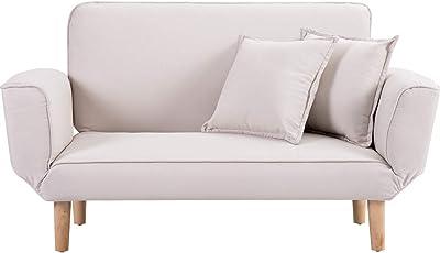 【Amazon.co.jp 限定】オーエスジェイ(OSJ) ソファ 幅106㎝ ソファ ソファ- クッション付 軽量 コンパクト 2人掛け 一人暮らし ベッド そふぁ ソファ ベージュ
