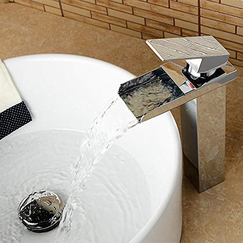 ETERNAL QUALITY Bad Waschbecken Wasserhahn Moderne Chrom Wasserfall Einlochmontage Einhand Spüle Wasserhahn Silber