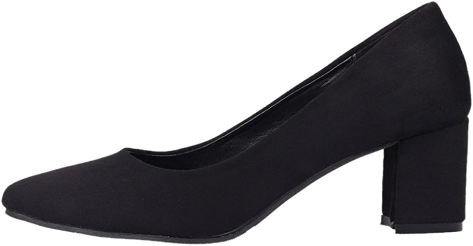 DYF Chaussures Femmes Nue, Forte de Couleur Solide Talon Moyen Brut Grande Taille,noir,Loisirs 47