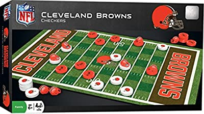 MasterPieces NFL Cleveland Browns Checkers Board Game Set, For 2 Players, Ages 6+