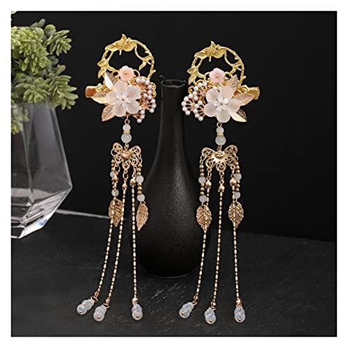 Horquilla China 1 par de Hojas de Flores Perlas Largo Tassel Colgante...