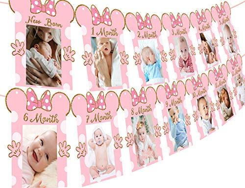 Kreatwow Minnie Photo Banner Banner de cumpleaños para recién Nacidos de 12 Meses de Color Rosa y Dorado para Suministros de Decoraciones de 1er cumpleaños con temática de Minnie